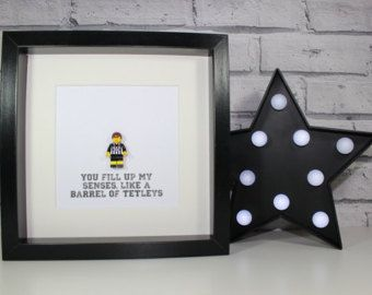 GRIMSBY TOWN FC - Framed custom Lego minifigure - footballer - quirky