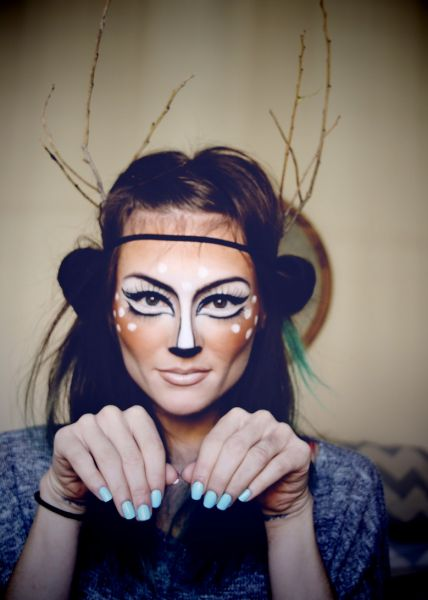 Deer-like look make-up tutorial for Halloween from Cheap Frills and Thrills - nzgirl