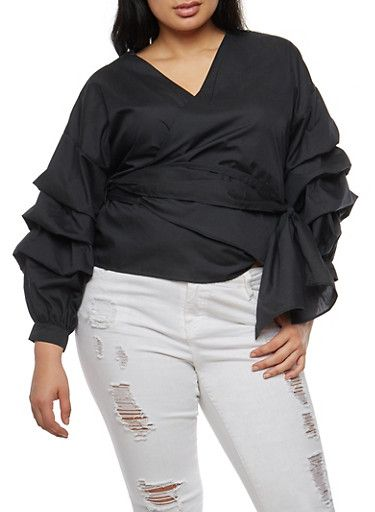 Plus Size Tiered Sleeve Wrap Front Top,BLACK