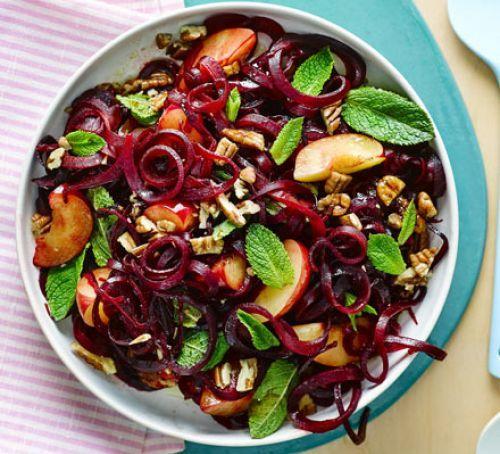 Roasted beets, plum & pecan salad