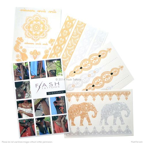 Go boho in the Sheebani collection by Flash Tattoos X Miracle Foundation! Each pack contains four sheets featuring over 19 henna inspired designs! #FLASHTAT @FlashTattoos