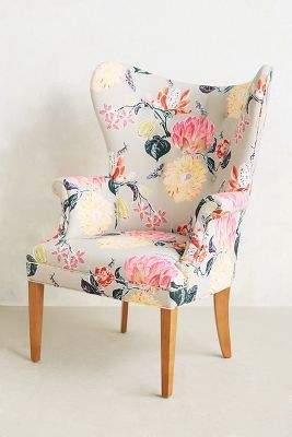Lotus wingback chair. The colors, the flowered pattern...Love everything about this chair!