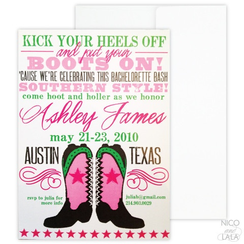 Boots on bachelorette! Southern style bachelorette party invitations | set of 10 | Nico and Lala