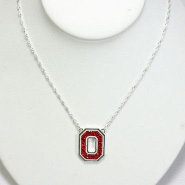 "Ohio State Rhinestone Necklace. Made by Seasons Jewelry, this Ohio State necklace features a vibrant team-colored rhinestones team logo and a chain necklace with a chain link extension. Measures approximately 16"". Add a splash of style to your wardrobe with this piece of Ohio State jewelry. Officially licensed Ohio State merchandise"