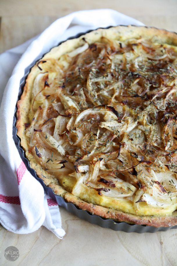 vegan potatoe tart with baked onion
