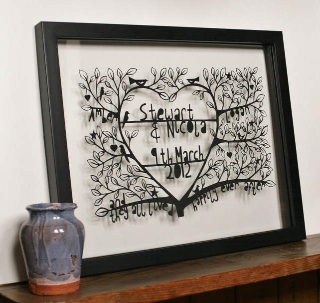 Happily ever after - a customised, hand cut, paper cut, a perfect wedding present. £65.00. Crafty Lou Louise McLaren #papercut