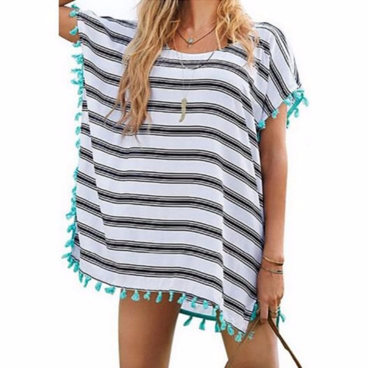 Design to keep you stylish and covered. This is crafted from chiffon material. Complete with round neck, batwing sleeve, tassel hemline and stripes pattern. A must have piece for this summer. Addition