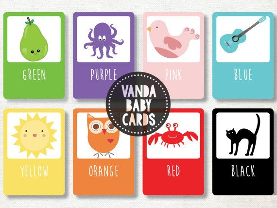 Colour Flash Cards  Color Flashcards  Toddler by VandaBabyCards