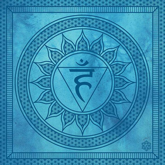 Chakra Art Archival Print: Throat Chakra Visuddha Sacred Geometry Healing Fine Art Print