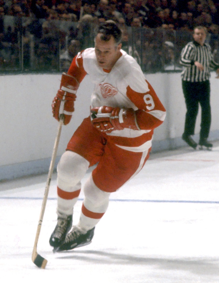 Ambidextrous Gordie Howe holding his stick as a left shot - DENNIS MILES PHOTOGRAPHY