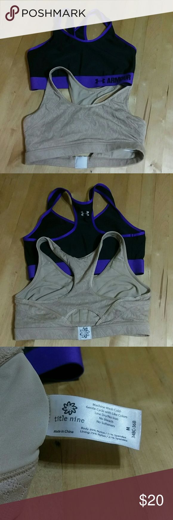 Bundle of Sports Bras One like new Under Armour black and purple sports bra size M with tags cuts off. One used Title Nine nude lace patterned size M 34BC-36B. Under Armour Intimates & Sleepwear Bras