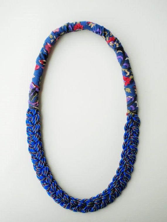 rope necklace nautiical necklace fabric jewelry long by JIAKUMA