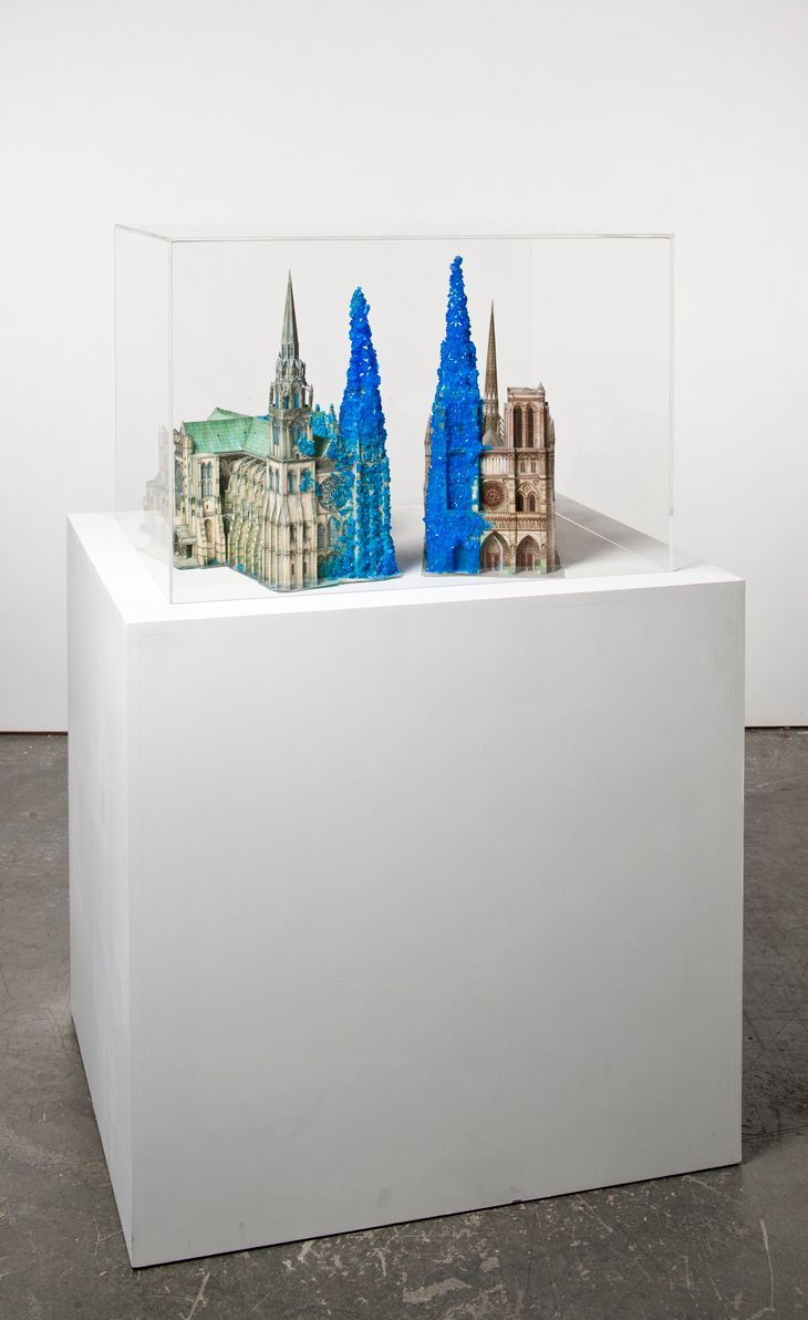 Roger Hiorns - Copper Sulphate Chartres  Hiorns' inconsistent sculptural practice rebels against the idea of unquestioned limitation in art and, by extension, calls for a liberation of the assumed status quo on a broader sphere.