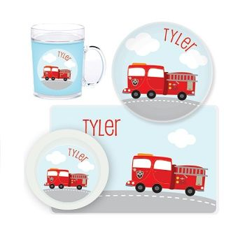 Fire Truck Personalised Kids Mealtime Set $32.95 - $39.95 #sweetcreations #baby #toddlers #kids #personalised