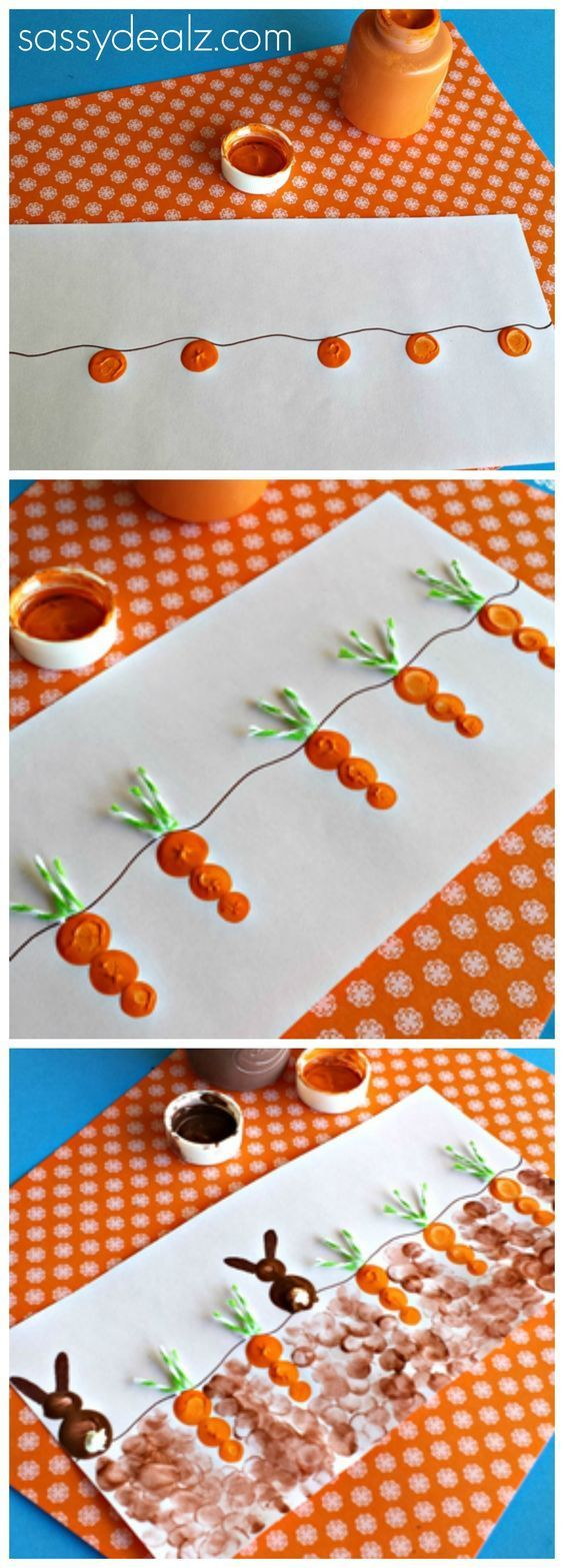 Fingerprint Carrot and Bunny Craft for Kids at Easter time! #Easter craft for kids #toddler approved | http://CraftyMorning.com
