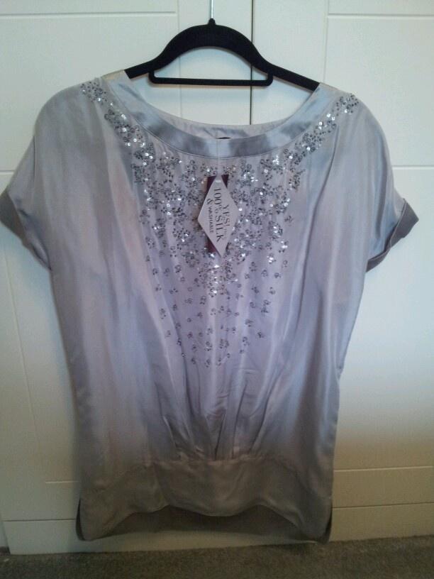 Principles 100% silk top wirh beading/sequins 12 bnwt