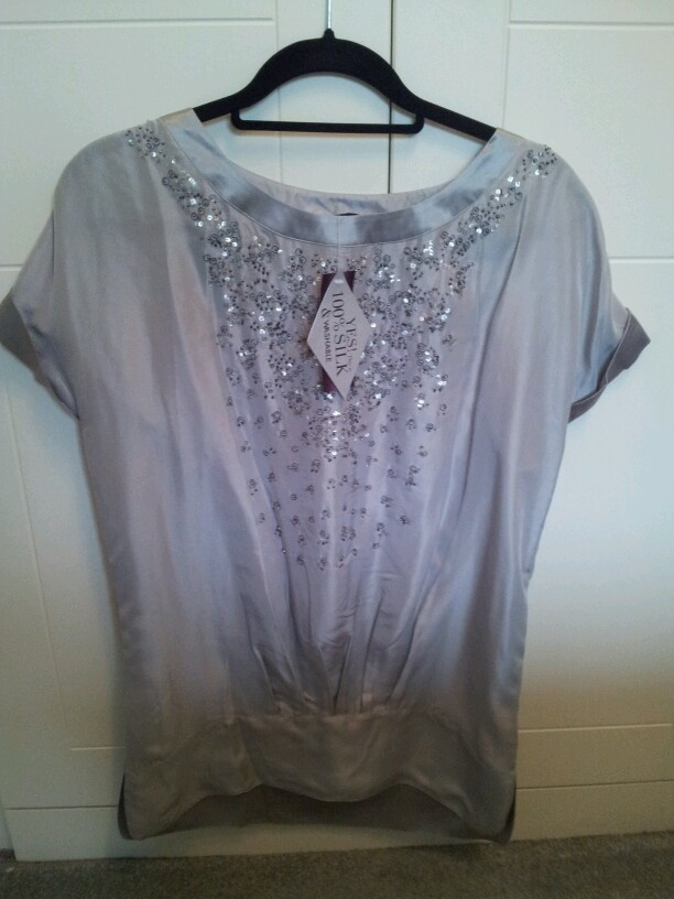 Principles 100% silk top wirh beading/sequins 12 bnwt