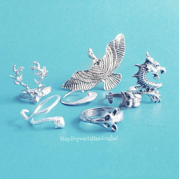 Pottermore Inspired Patronus Animal Rings - Done The Quiz? Get Your Patronus Ring and Wear It Everywhere! By HogwartsHandcrafted on Etsy #harrypotter #fantasticbeasts #pottermore #patronus #jewelry #etsy #expectopatronum #hippogriff #pegasus #occamy #dragon #hedgehog #owl #erumpent #bat #ring