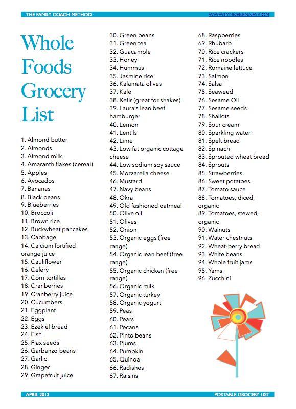 printable grocery list april 2013