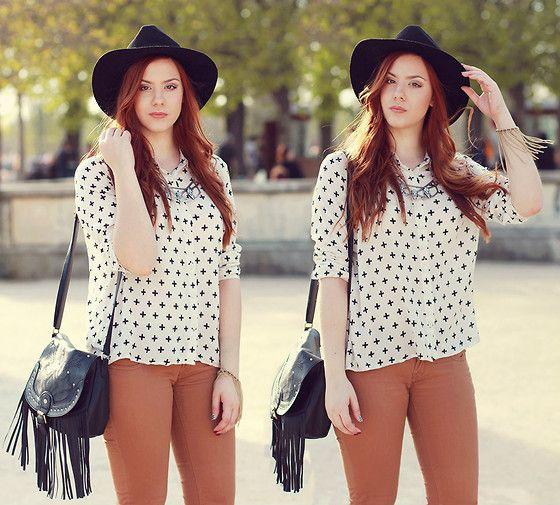 H&M Cross Shirt, H&M Necklace & Bracelet, New Look Fringe Boho Bag