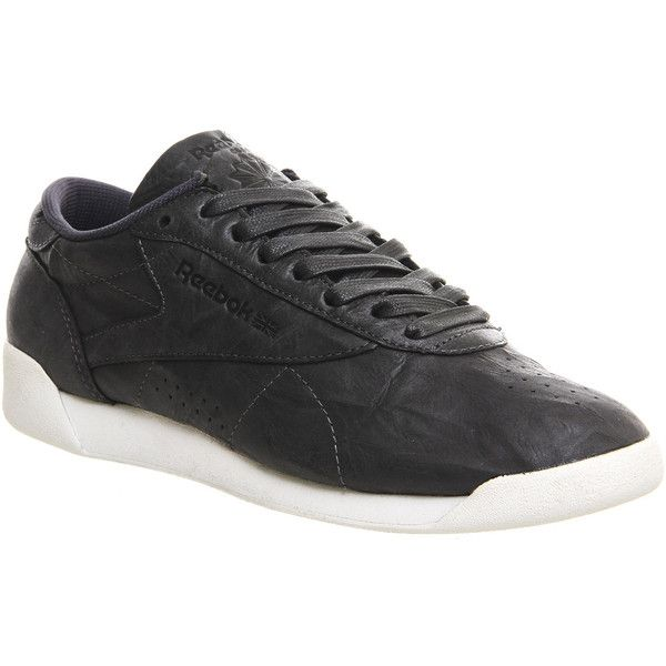 Reebok Freestyle Low (6,620 INR) ❤ liked on Polyvore featuring shoes, sneakers, gravel chalk, hers trainers, trainers, real leather shoes, low sneakers, reebok footwear, genuine leather shoes and shiny shoes