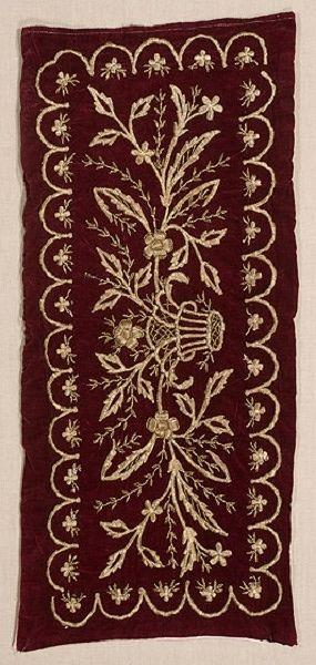 Embroidered 'yastık' (cushion cover). Late-Ottoman, end of 19th century.  'Goldwork' (Maraş işi) and metallic spiral threads on velvet.