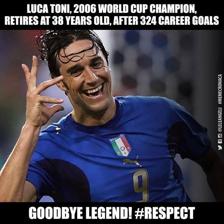 Luca Toni retires at 38 after 324 career goals. Goodbye Legend!  Credits: Lele Angeli