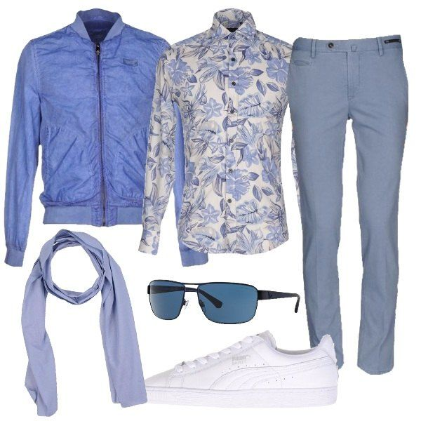 I pantaloni in cotone azzurri modello gamba diritta e tasche a filetto si abbinano alla camicia modello slim fit bianca a fantasia floreale nei toni del blu e dell'azzurro. Aggiungiamo un giubbino modello bomber azzurro intenso con zip di chiusura avanti. AI piedi scarpe sportive in pelle bianca con impunture tono su tono. Per finire sciarpa leggera azzurra e occhiali da sole con lenti azzurrate.