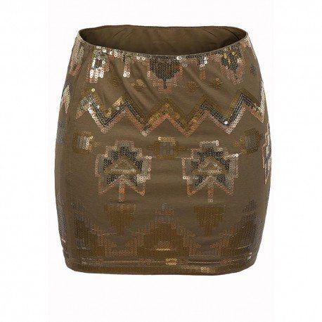 Mini falda de cintura elástica adornada con lentejuelas.Material(es) 60% Algodón y 40% Poliéster.Forro 100% Poliéster. Color(es) Dorado.