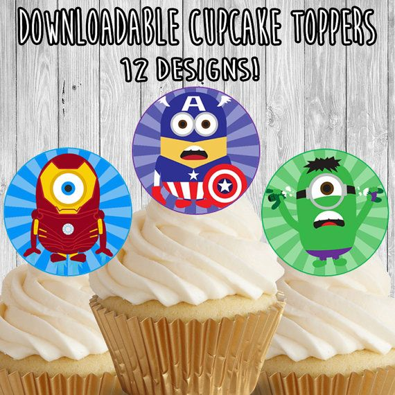 Minions Avengers Cupcake Toppers / Picks - birthday party favor decor - instant download - x men