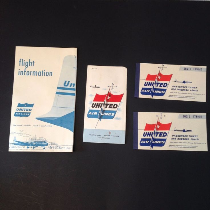 Vintage 1956 United Airlines Passenger Tickets Folder Aviation Flight Info #Aviation #unitedairlines #tickets