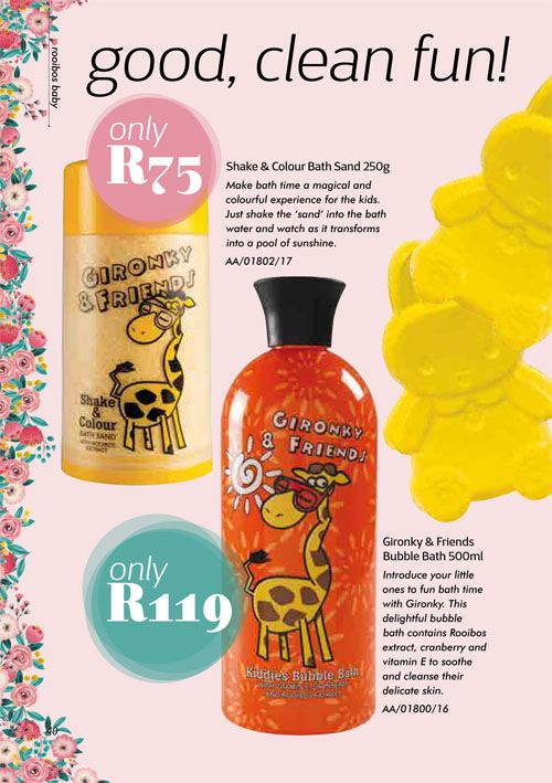 Annique Health & Beauty October 2017 Specials. Limited Edition for kiddies bath time.  Gironky Bubble Bath, Shake & Colour Bath Sand & Hippity Hop Soap Bars.