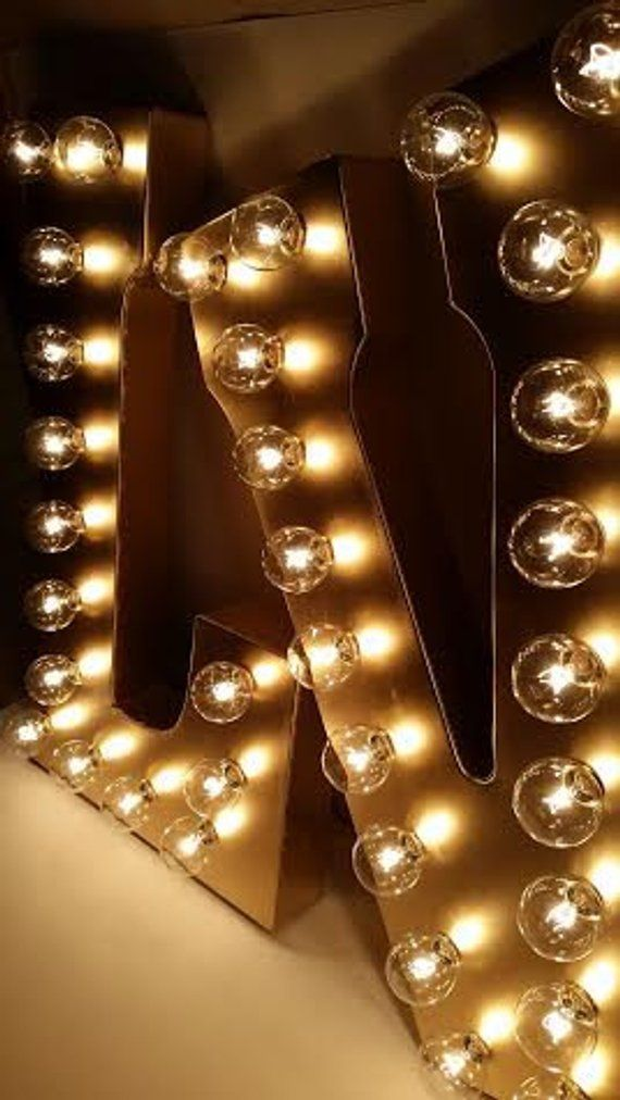 Gold Galvanized Metal Marquee Large Light Up Letter Light Up Etsy Marquee Lights Large Light Up Letters Light Up Letters