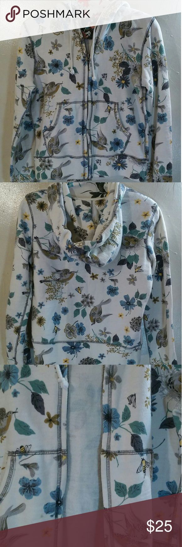 Lucky Brand Womens Small Hoodie Floral/Bird Print 100% Cotton hoodie white with floral/bird print is blue, yellow, green and brown.  Full working zipper, kangaroo pockets - thick tie that won't get lost in casing.  Measurements (taken laid flat):  Chest:  19 inches Length:  21 inches Lucky Brand Jackets & Coats
