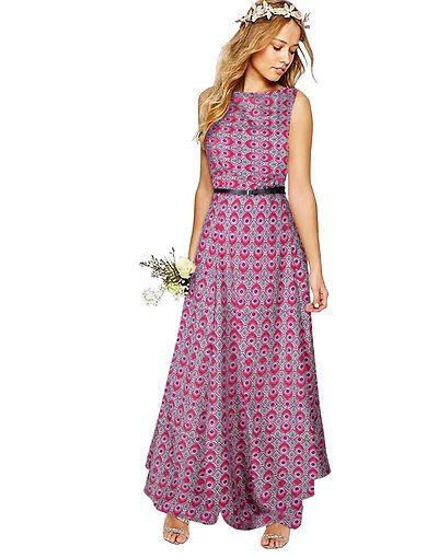 23d1404053b6 Pink Woven Design Crepe Maxi Dress
