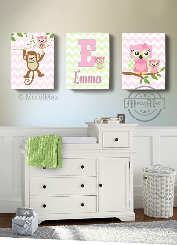 Girls Wall Art   OWL Canvas Art, Baby Nursery Decor Owl Canvas Art Set, Monkey  Nursery Art , Owl Print For Nursery. Pink And Green Nursery