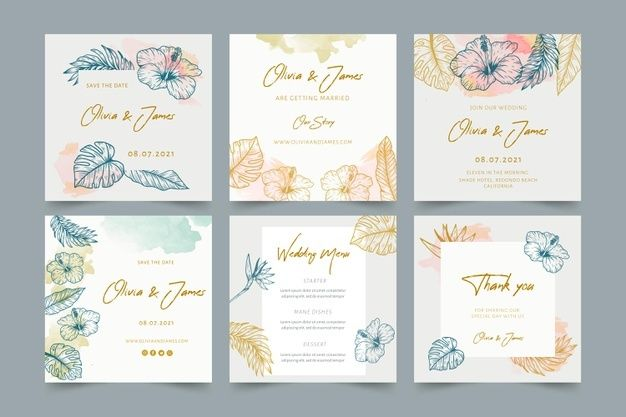 Download Wedding Instagram Posts With Floral Ornaments For Free Wedding Invitation Video Instagram Template Design Wedding Card Templates