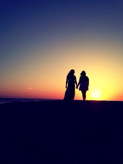 Girls, gone in the sunset.