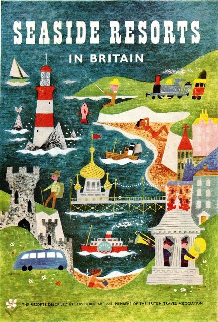 Seaside Resorts in Britain, tourism poster illustrated by artist John Hanna. From Graphis Annual 1955/56.
