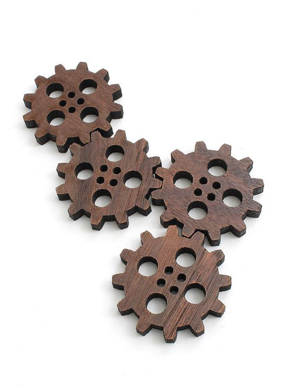 These little Steampunk clock gear buttons are laser cut from sustainable harvest Black Walnut hardwood from our family farm.    Dimensions are