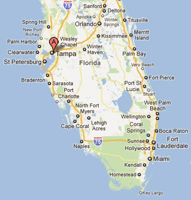 Map Of Beaches Near Tampa Florida
