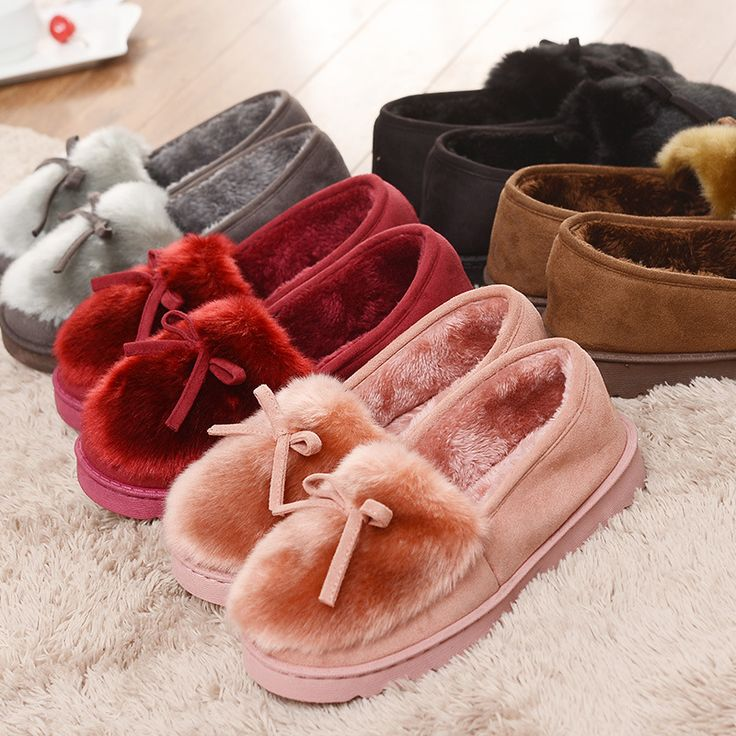 2016 Warm Slippers Women Winter Shoes Bowtie Plush Inside Loaferes Ladies Indoor Home Slippers Pantuflas Ladies Slip On Shoes #>=#>=#>=#>=#> Click on the pin to check out discount price, color, size, shipping, etc. Save and like it!