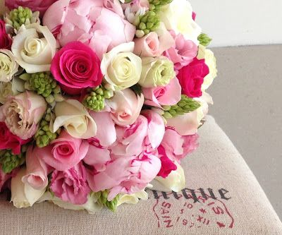 Beautiful Blooms: Wedding Bridal Bouquet: Peonies, Roses, Lisianthus and Chincherees.