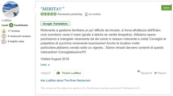 Περιμένουμε και τις δικές σας κριτικές στην σελίδα μας στο #TripAdvisor. Σας ευχαριστούμε πολύ για την υποστήριξη σας ! :-)          Visit our @tripadvisorus page and review us. Thank you for your support ! :-) #The_River_Restaurant #Ierapetra #Ιεράπετρα #Crete #Κρήτη