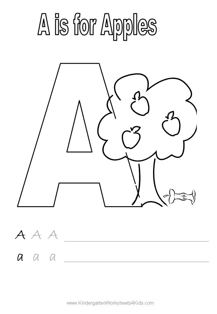 Handwriting worksheet letter A Alphabet Coloring Pages