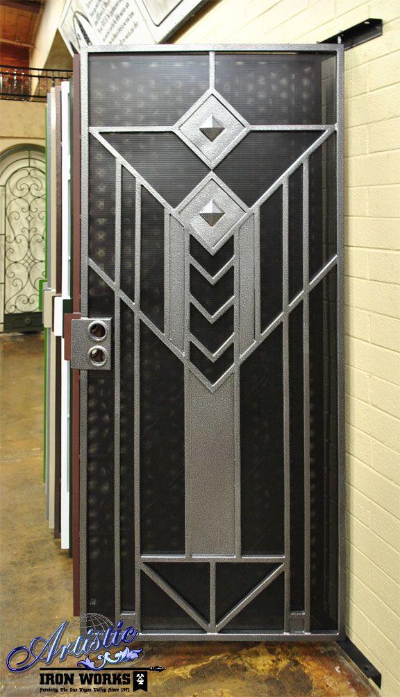 Geneva- Art Deco wrought iron security screen door - Model: SD0224