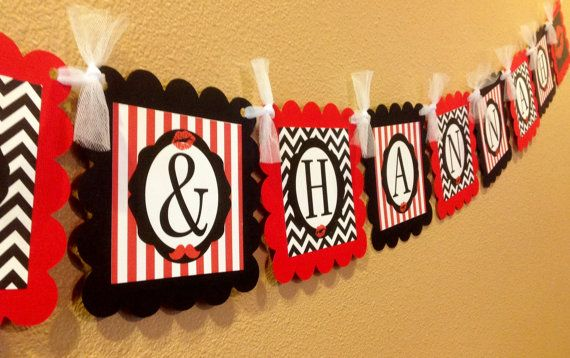 PARTY PACK SPECIAL - Lips & Mustache Party Theme - Red and Black - Engagement Party on Etsy, $49.95