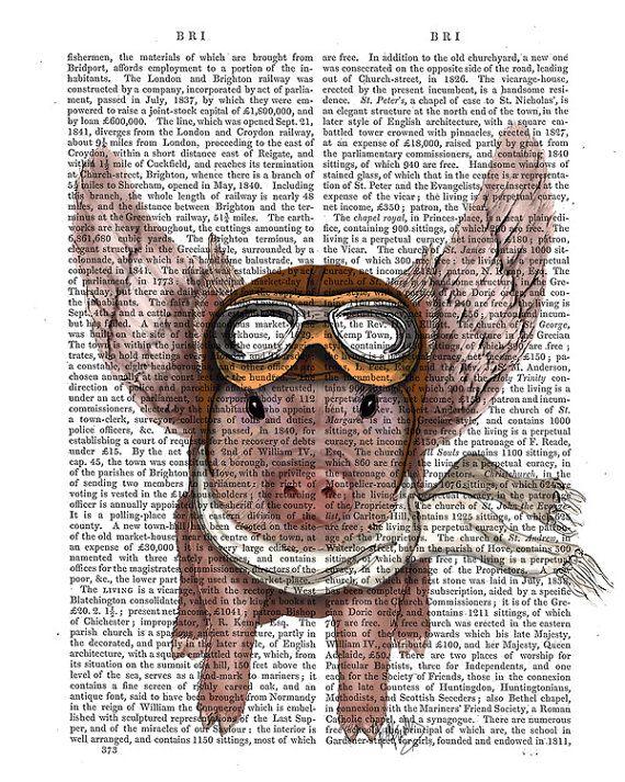 Aviator Piggy flying pig. Print of an original illustration by FabFunky. ------------------------------------------------------------  Initial standard