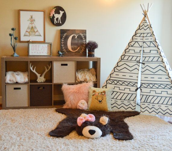 Nursery Rug / Faux Bear Rug / woodland nursery / Baby by ClaraLoo