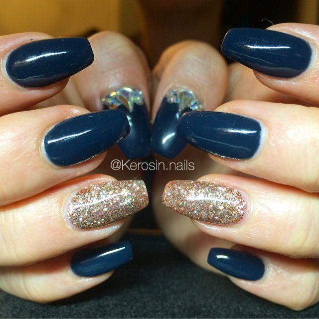 Gel nails nail art acrylic nails navy blue nails